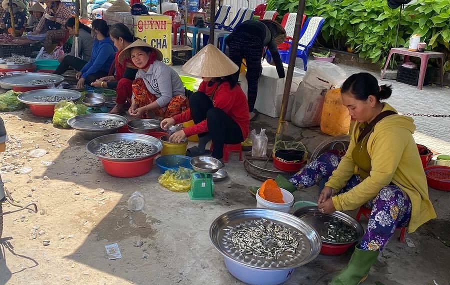 Cá linh non bán tại chợ thị xã Hồng Ngự, Đồng Tháp. Ảnh: Lê Phong.
