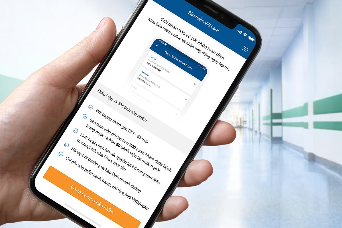 Người dùng có thể chọn mua, thanh toán và nhận hợp đồng bảo hiểm chỉ trong một phút. Ảnh: VIB.