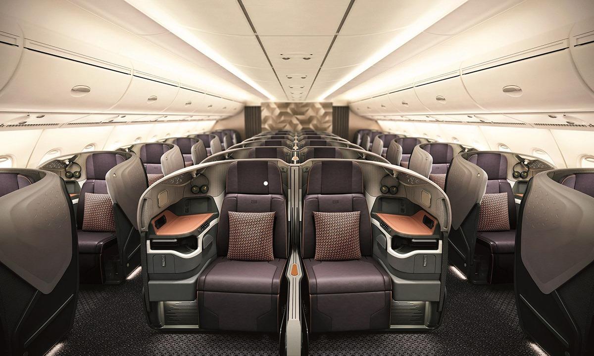 Bên trong khoang thương gia máy bay A380 của Singapore Airlines. Ảnh: Airbus