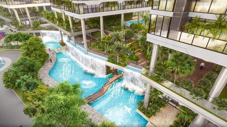 Ngoài hệ thống 400 vườn xanh trên không, Sunshine Green Iconic còn sở hữu dòng suối nhiệt đới uốn lượn quanh bốn toà tháp dài hàng trăm mét.