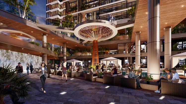Hệ thống giải trí với loạt nhà hàng, siêu thị, cafe sân vườn, spa, cửa hàng thời trang...cũng bố trí bao quanh hệ thống vườn cảnh quan, suối và thác nước.