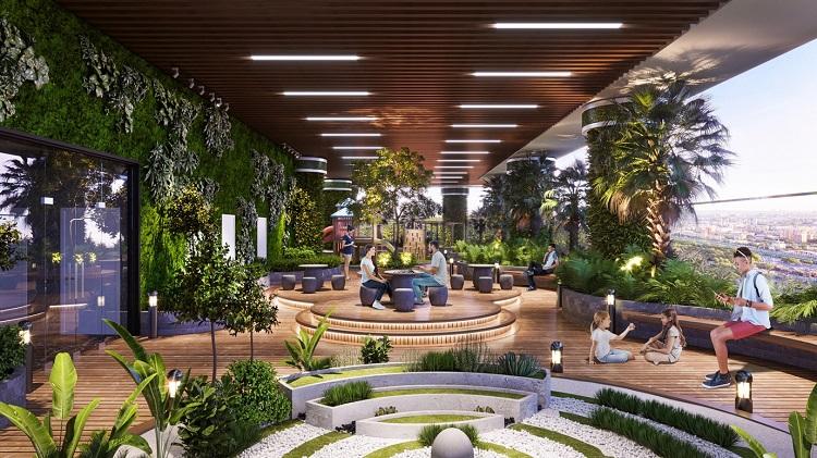 Hoà vào không gian xanh khổng lồ tại tầng trệt, 400 khu vườn nhiệt đới trên không là vườn thượng uyển rộng hàng nghìn m2 trên tầng 3.
