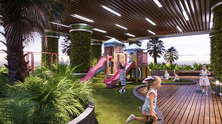 Tại đây, chủ đầu tư bố trí hàng chục khu vườn chủ đề với: vườn thực vật với sân chơi cổ tích dành cho trẻ nhỏ, vườn Detox với hệ thống tiện ích thanh lọc cơ thể, vườn dưỡng sinh dành cho người già, vườn dạo bộ nhiệt đới...