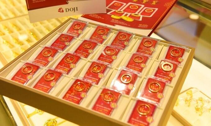 Vàng nhẫn trưng bày tại cửa hàng DOJI. Ảnh: DOJI.