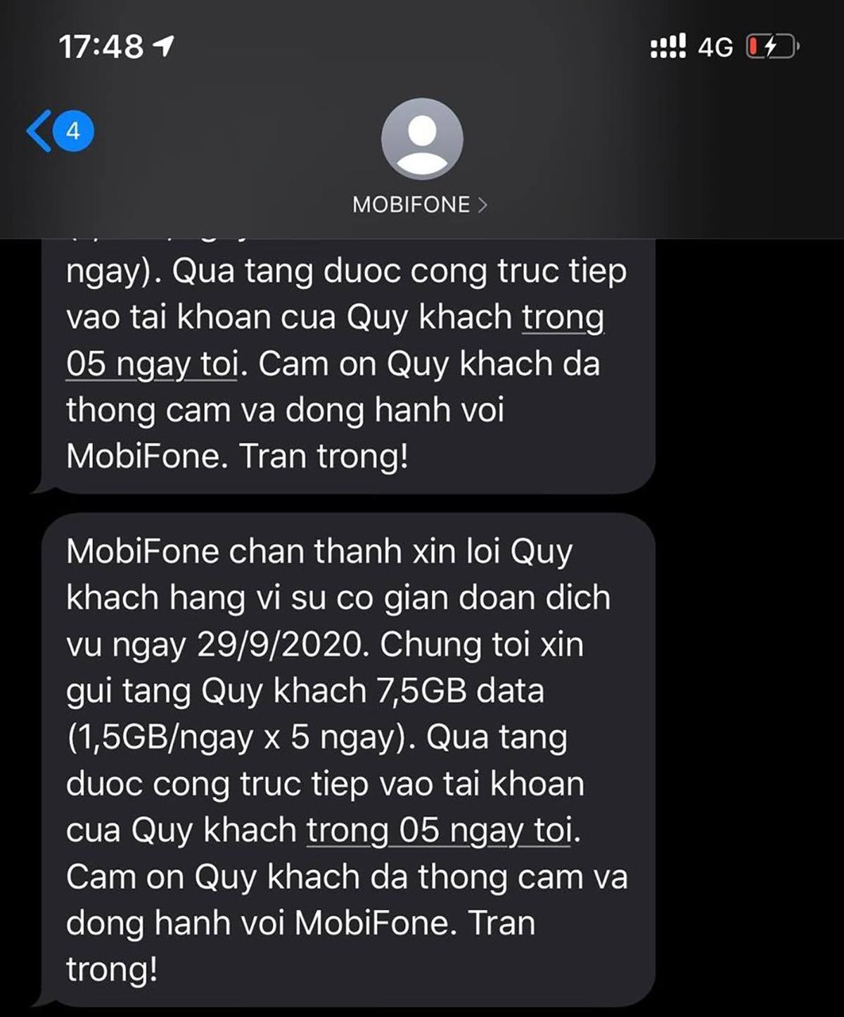 MobiFone đã bắt đầu thông báo tặng thêm data cho các thuê bao bị ảnh hưởng bởi sự cố hôm 29/9. Ảnh: Anh Tú