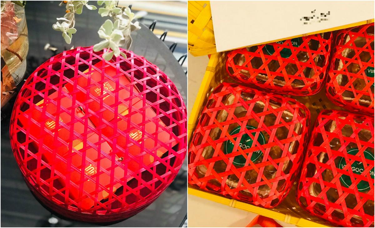 Hai set bánh vỏ mây tre đan được chị Thanh Kiều ấn tượng và cho là có thể dùng để trang trí. Ảnh: Thanh Kiều