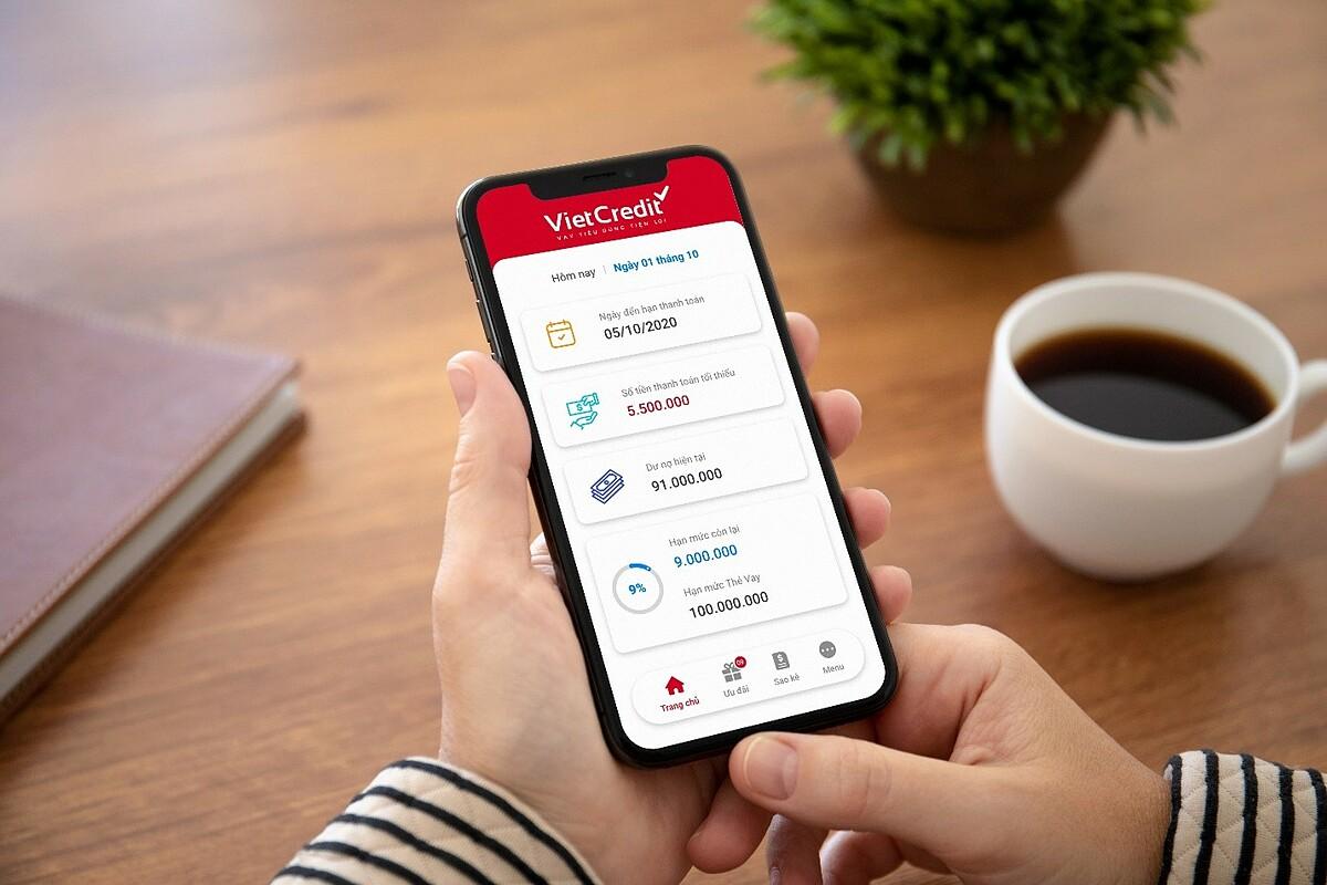 Giao diện ứng dụng VietCredit dễ nhìn, thuận tiện cho người sử dụng.