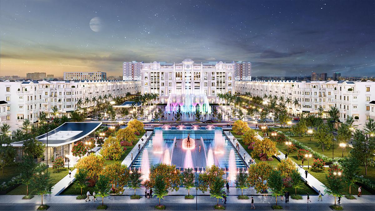 Khu thương mại đối diện quảng trường nhạc nước Hòa Bình Square tạo nên một tổ hợp giải trí, mua sắm, hội nghị cao cấp. Ảnh phối cảnh: CityLand.