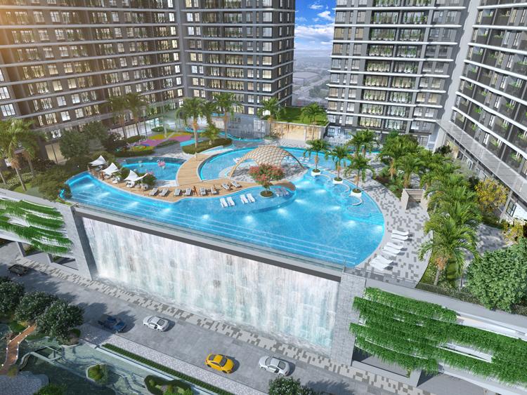 Hồ bơi trong dự án Midori Park The Glory.
