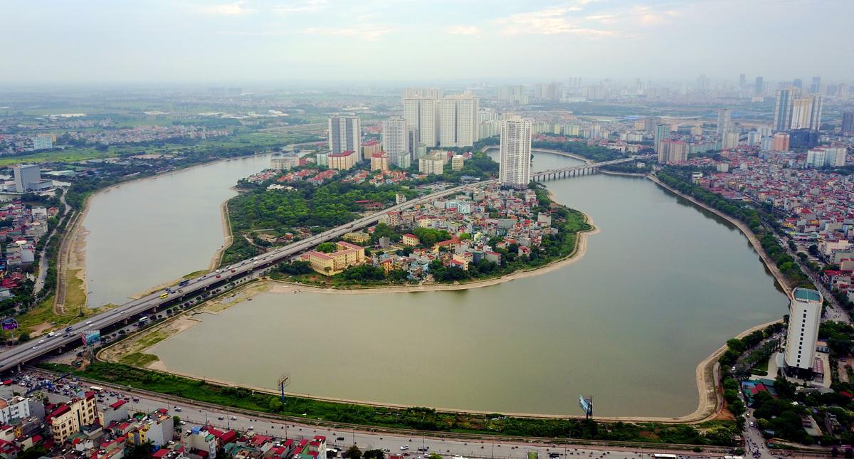 Toàn cảnh bán đảo Linh Đàm (quận Hoàng Mai, Hà Nội)