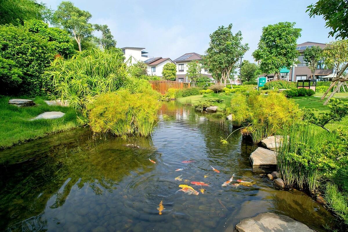 Không gian xanh đậm nét Nhật Bản tại khu đô thị Waterpoint. Ảnh: Nam Long.