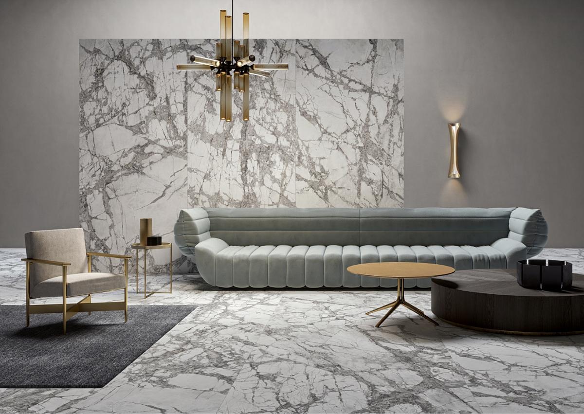 Gạch vân đá Marble Delight (Lea Ceramiche) với kích thước 120x260 cm tô điểm vẻ đẹp đẳng cấp cho không gian.