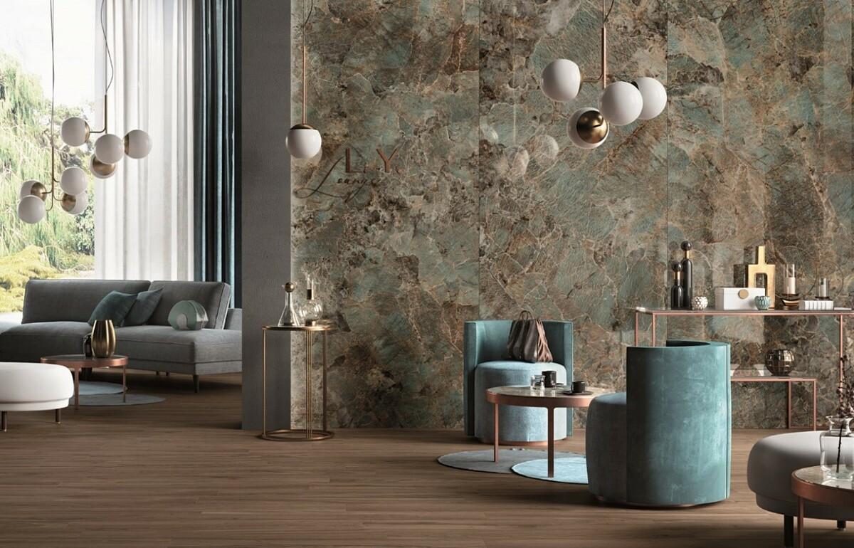 Gạch khổ lớn Cosmopolitan (Mirage) với bề mặt sáng bóng và kích thước 80x160 cm lý tưởng để ốp cho các không gian đương đại.