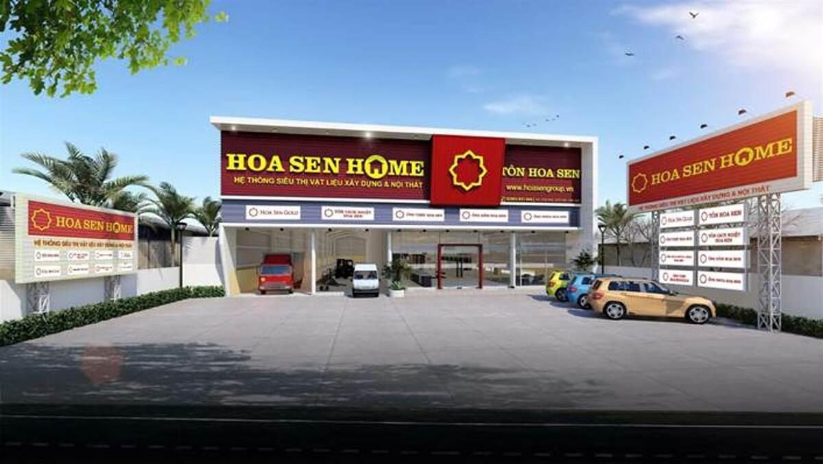 Phối cảnh chuỗi siêu thị vật liệu xây dựng và nội thất Hoa Sen Home. Ảnh phối cảnh: Tập đoàn Hoa Sen.