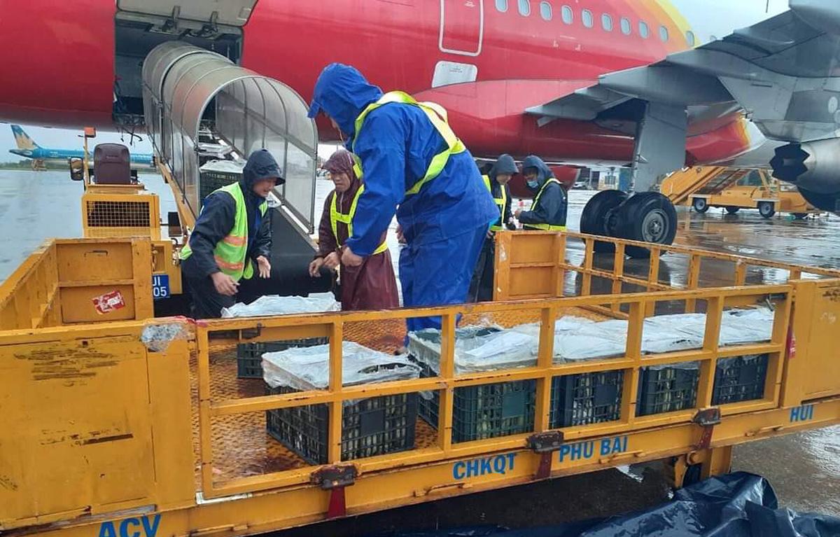 Gần 200 tấn hàng đã được Vietjet tiếp nhận và vận chuyển miễn phí đến đồng bào miền Trung trong những ngày qua (ảnh: Huyền Minh)