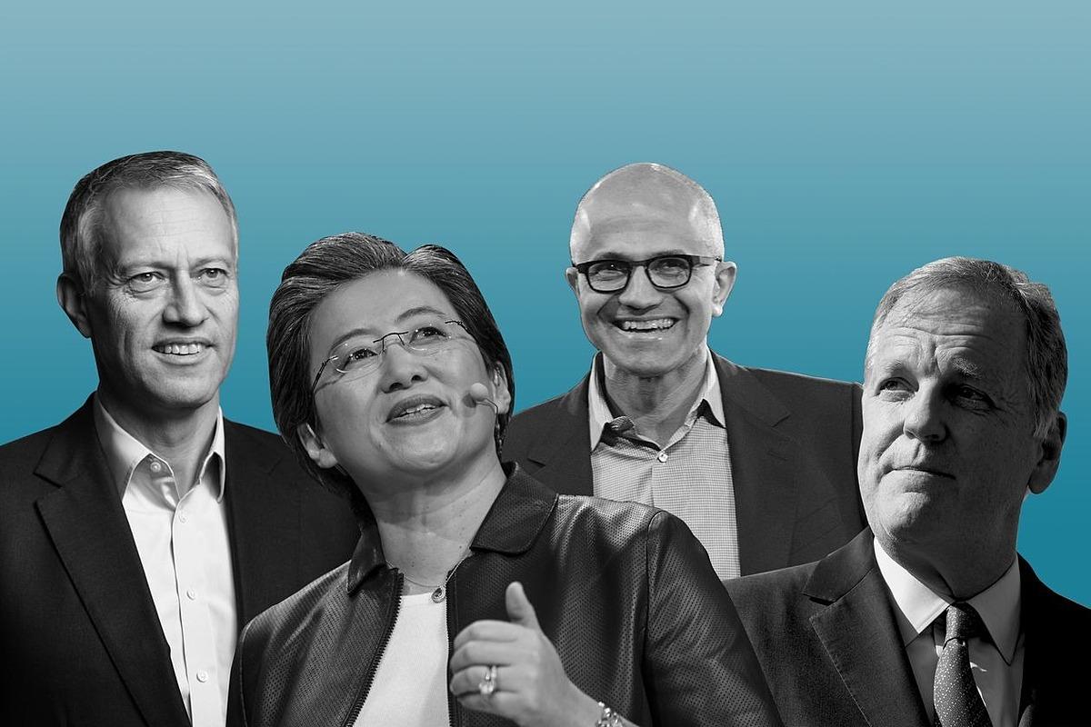 Từ trái sang: CEO Coca-Cola James Quincey, CEO ADM Linda Su, CEO Microsoft Satya Nadella và CEO American Airlines Doug Parker. Ảnh: WSJ.