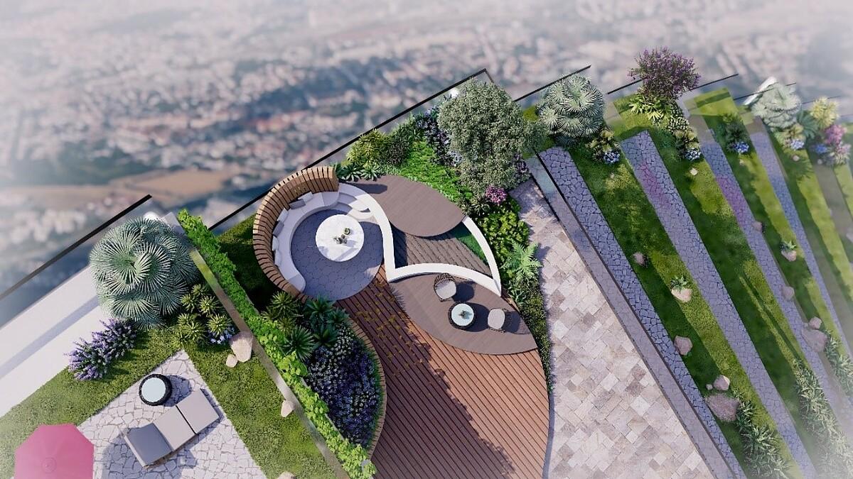 Vườn trên không là điểm nhấn giúp dự án thu hút người mua. Ảnh phối cảnh: Sunshine Group.