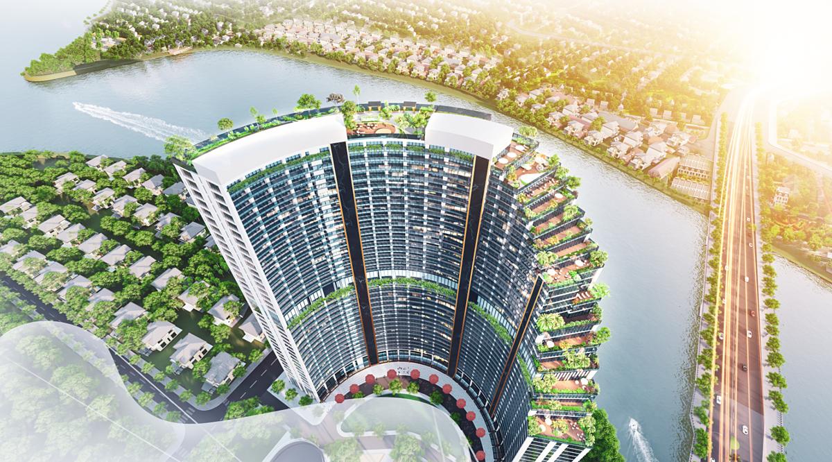 Tầm nhìn đẹp hướng sông, công viên và nội khu xanh mát là những giá trị vô hình tại Babylon Tower. Ảnh phối cảnh: Sunshine Group.