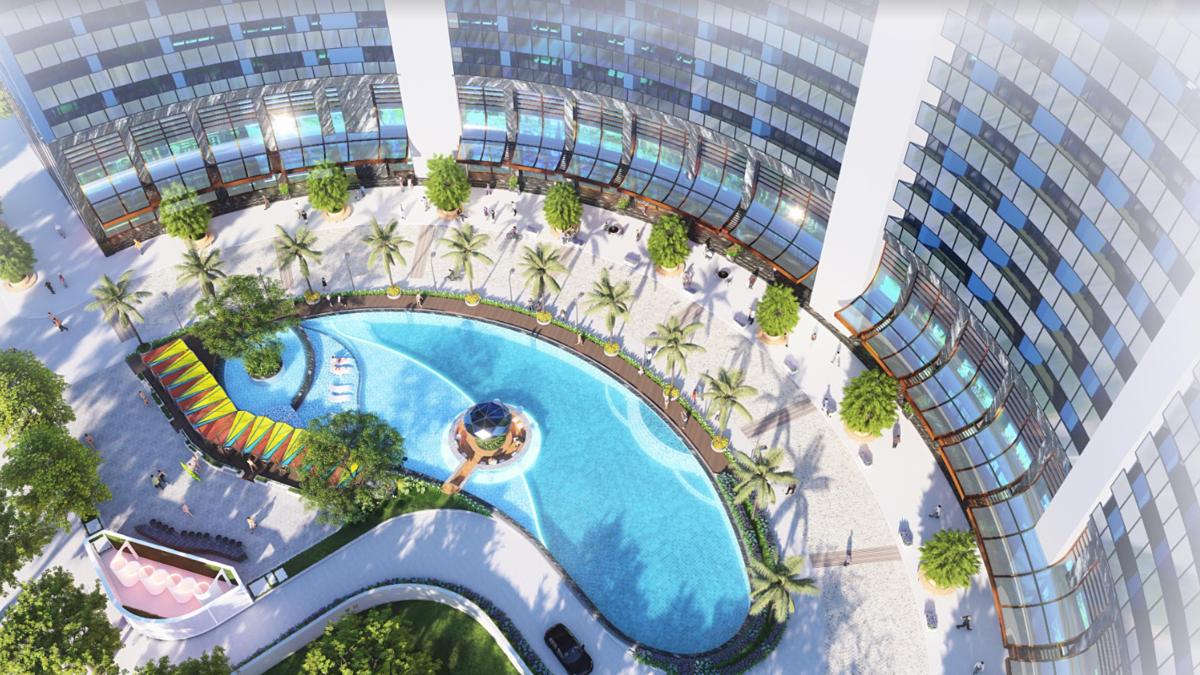 Loạt tiện ích phong cách resort 5 sao và dịch vụ đẳng cấp tại Babylon Tower mang đến cho cộng đồng cư dân tinh hoa cuộc sống thời thượng. Ảnh phối cảnh: Sunshine Group.