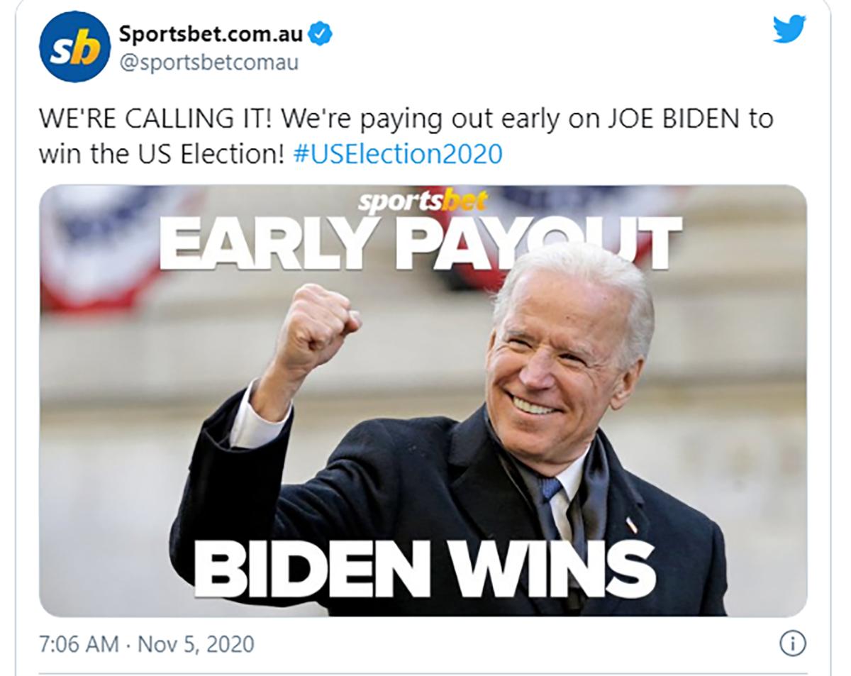 Thông báo trả thưởng sớm của Sportsbet. Ảnh: Bloomberg