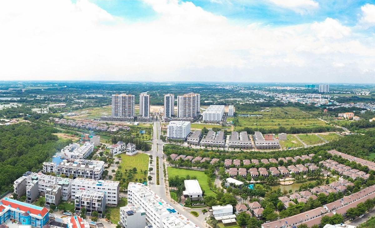 Khu đô thị Mizuki Park quy mô 26ha, kết nối với đại lộ Nguyễn Văn Linh, có nhiều loại nhà ở vừa túi tiền. Ảnh: Nam Long.