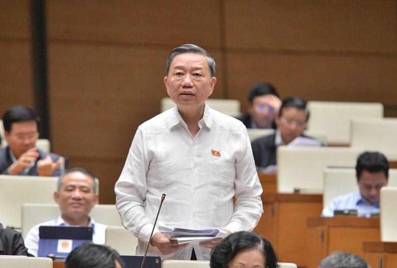 Bộ trưởng Công An Tô Lâm tại phiên họp Quốc hội ngày 9/11. Ảnh: Trung tâm báo chí Quốc hội.