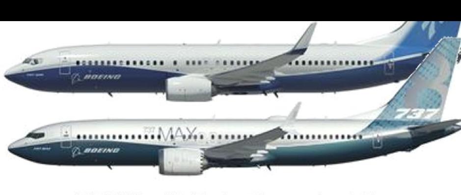 737-Max (dưới) có động cơ nhô về phía trước nhiều hơn hẳn so với 737 đời cũ. Ảnh: Cranky Flier.