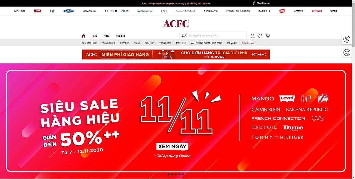 ACFC tung ưu đãi đến 50% trong ngày 11/11. Ảnh: chụp màn hình.
