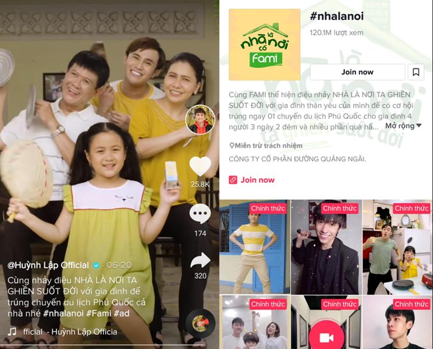 Hashtag #nhalanoi (nhà là nơi) của Fami nhận được sự hưởng ứng của hàng nghìn người dùng trên TikTok.