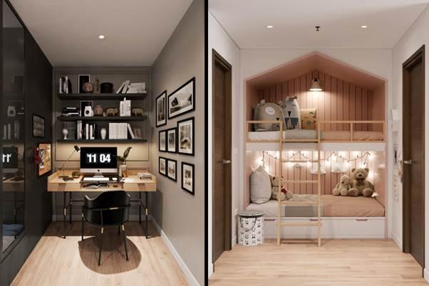 Không gian +1 bên trong căn hộ được tuỳ chỉnh linh hoạt thành giường ngủ hoặc góc làm việc yên tĩnh.