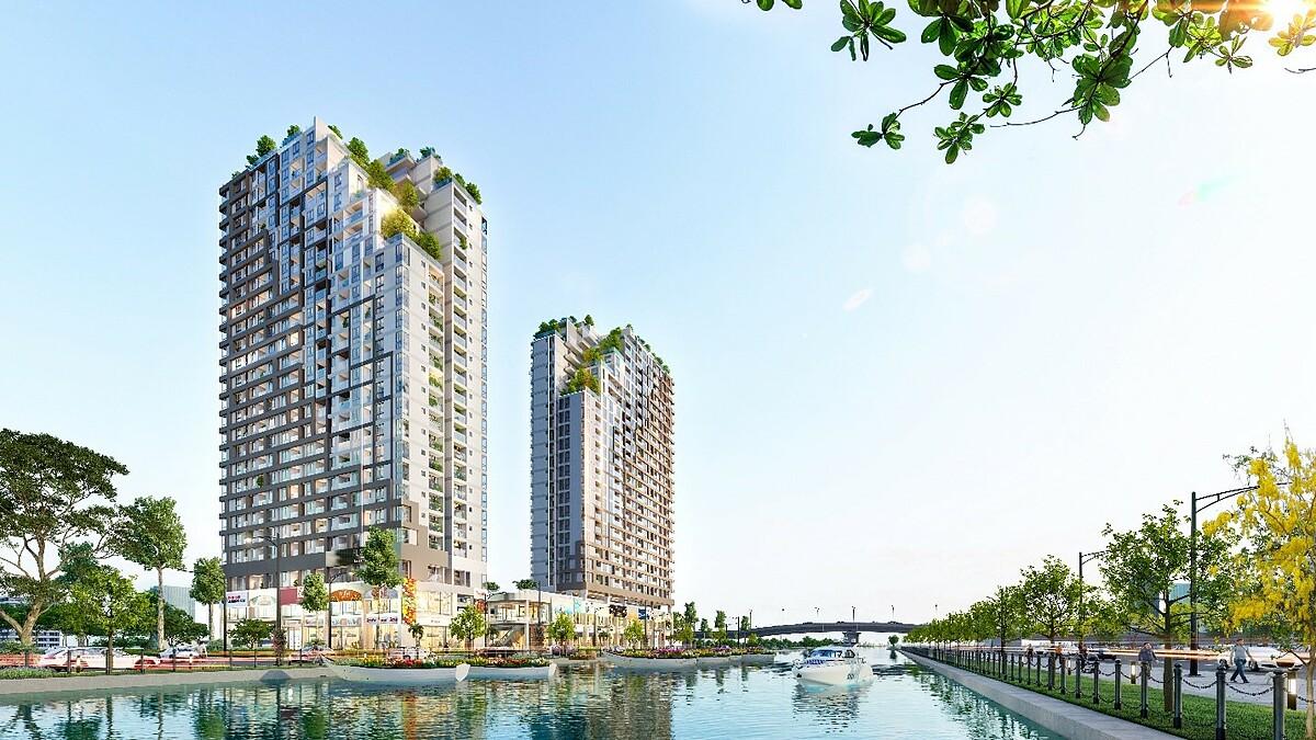 Dự án D-Aqua tại mặt tiền Bến Bình Đông sẽ được giới thiệu ra thị trường Tây Nam Sài Gòn trong quý IV. Ảnh phối cảnh: DHA Corporation.