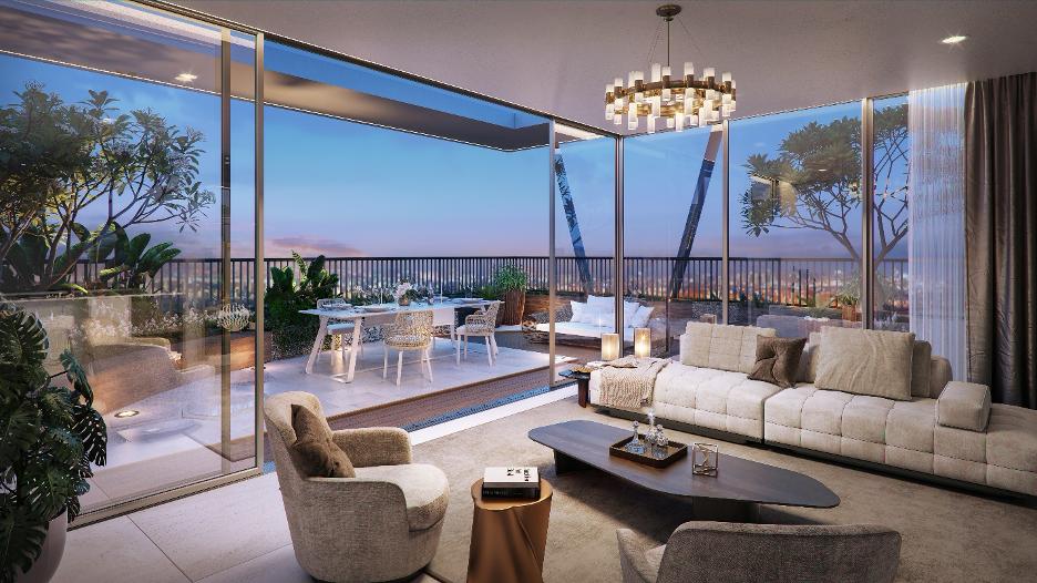 Phối cảnh không gian phòng khách của căn penthouse tại dự án.