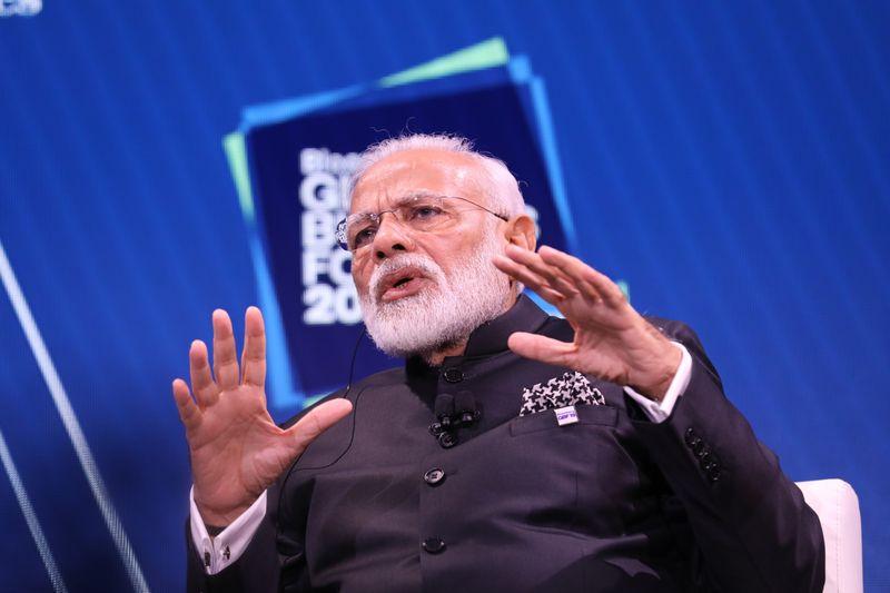 Thủ tướng Ấn Độ Narendra Modi tại Diễn đàn Kinh tế Mới Bloomberg hôm 17/11. Ảnh: Bloomberg.