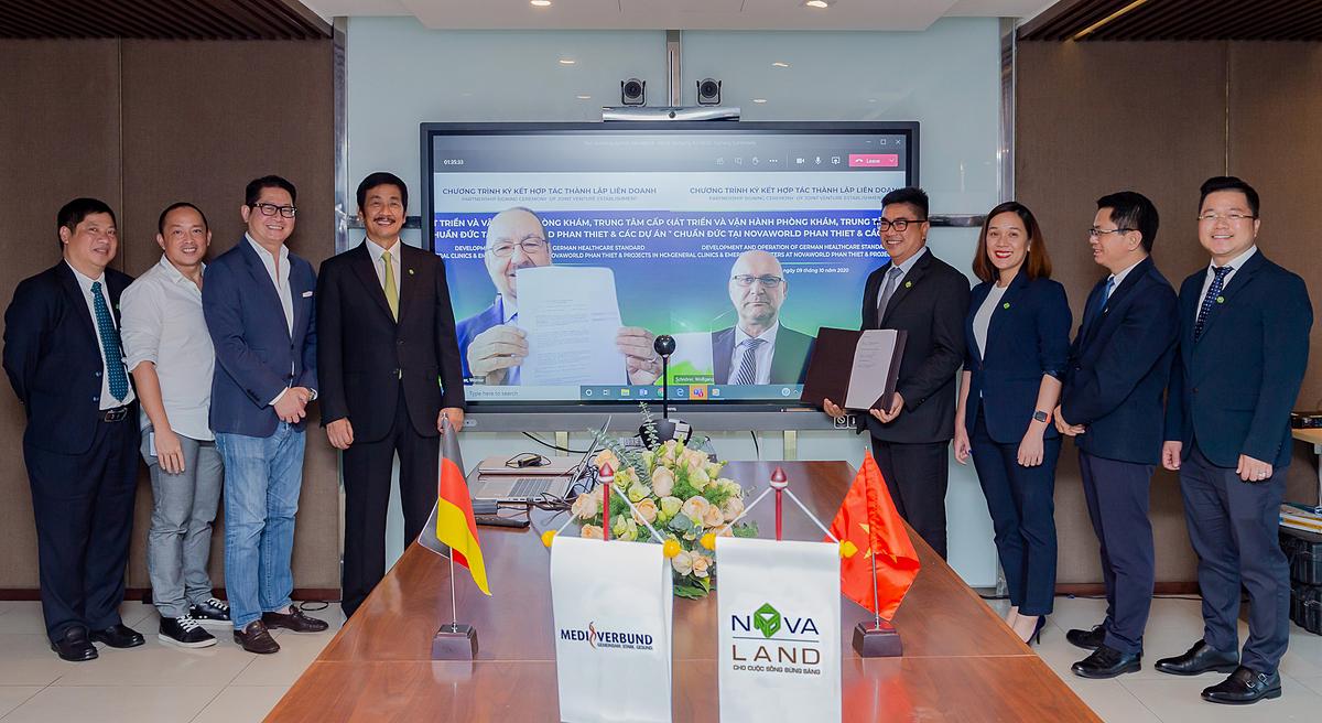 Novaland ký kết hợp tác cùng tập đoàn y tế MediVerbund AG (Đức) thành lập liên doanh phát triển chuỗi phòng khám chuyên khoa, đa khoa, trung tâm cấp cứu. Ảnh: Novaland.