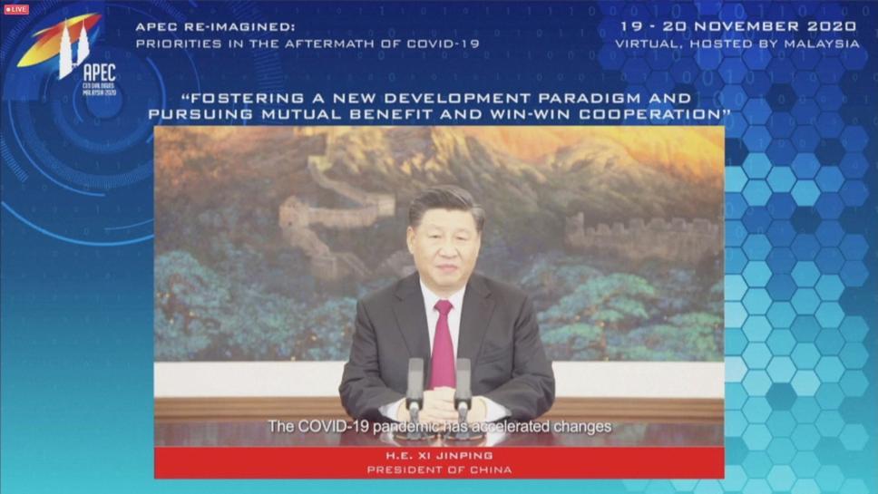 Chủ tịch Trung Quốc Tập Cận Bình trong bài phát biểu trực tuyến hôm nay. Ảnh: Reuters