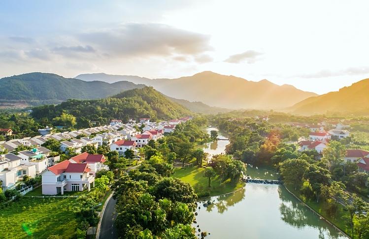 Khu đô thị Xanh Villas nhìn từ trên cao.