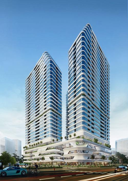 King Crown Infinity với hai tòa tháp thiết kế ấn tượng. Ảnh phối cảnh: BCG Land.