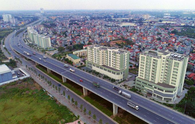 Đường lên nút giao nút giao Long Biên - Nguyễn Văn Cừ, dự án hạ tầng lớn nhất tại Long Biên. Ảnh:Giang Huy.