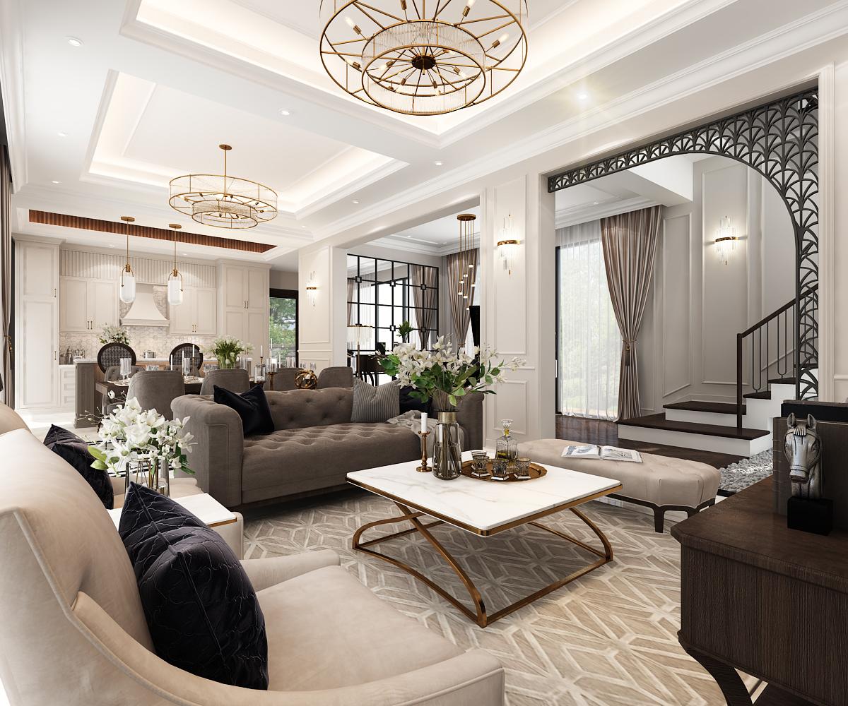 Không gian nội thất được thiết kế theo phong cách bán cổ điển phù hợp chung với xu hướng thiết kế đương đại sang trọng nhưng vẫn tạo được nét riêng của thiết kế. Tổng thể từ khối kiến trúc và không gian nội thất sử dụng gam màu trung tính sáng ấm, không quá tối tạo nên sự hoài hòa.