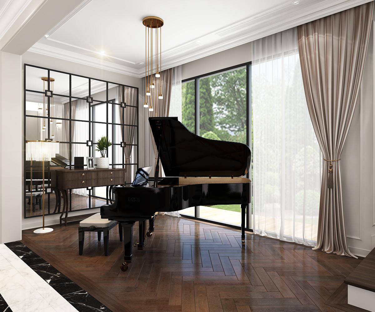 Thiết kế dành trọn một vị trí đẹp nhất trong nhà để tạo một không gian là nơi quay quần của gia đình trong những kỳ nghĩ hay chỉ đơn giản là những bữa ăn gia đình hằng ngày. Khu vực Grand Piano là điểm nhấn thú vị đó.