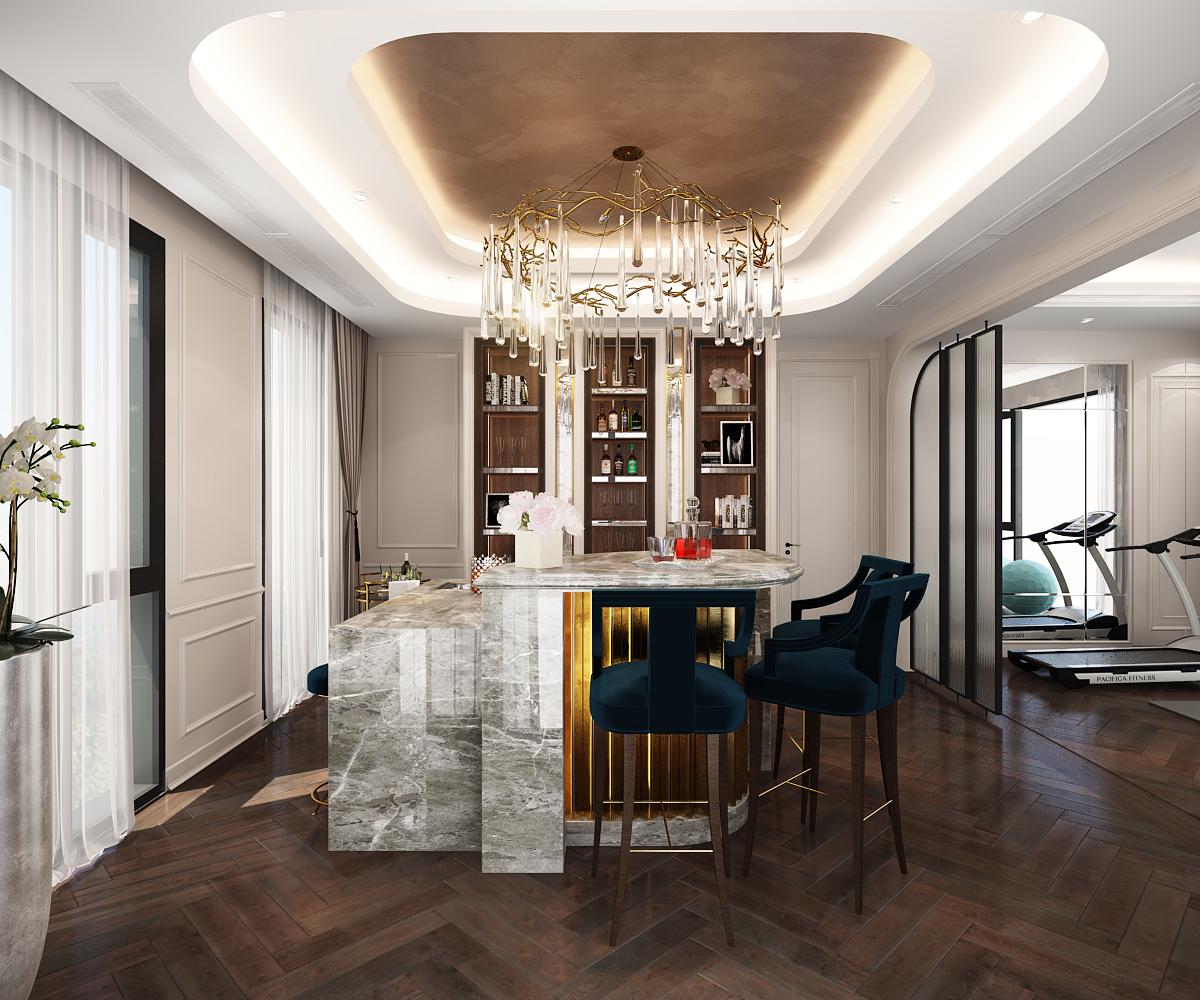 Với việc bố trí layout, công năng sử dụng theo hướng villa nghĩ dưỡng, nên các không gian chức năng đều được tối ưu hóa về diện tích sử dụng cũng như thẩm mỹ cao. Ngoài ra để phù hợp hơn với như cầu xử dụng của đa số thi hiếu khách hàng thì thiết kế mạnh dạng bố trí những không gian mới với những chức năng mới như phòng Gym, Phòng cigar lounge,... Biến một ngôi nhà không chỉ đơn thuần là ở mà còn là nơi relax cuối tuần hoặc những buổi hội họp gia đình bạn bè cũng là điểm nhấn đẳng cấp của dự án villa diện tích 330m2 này.