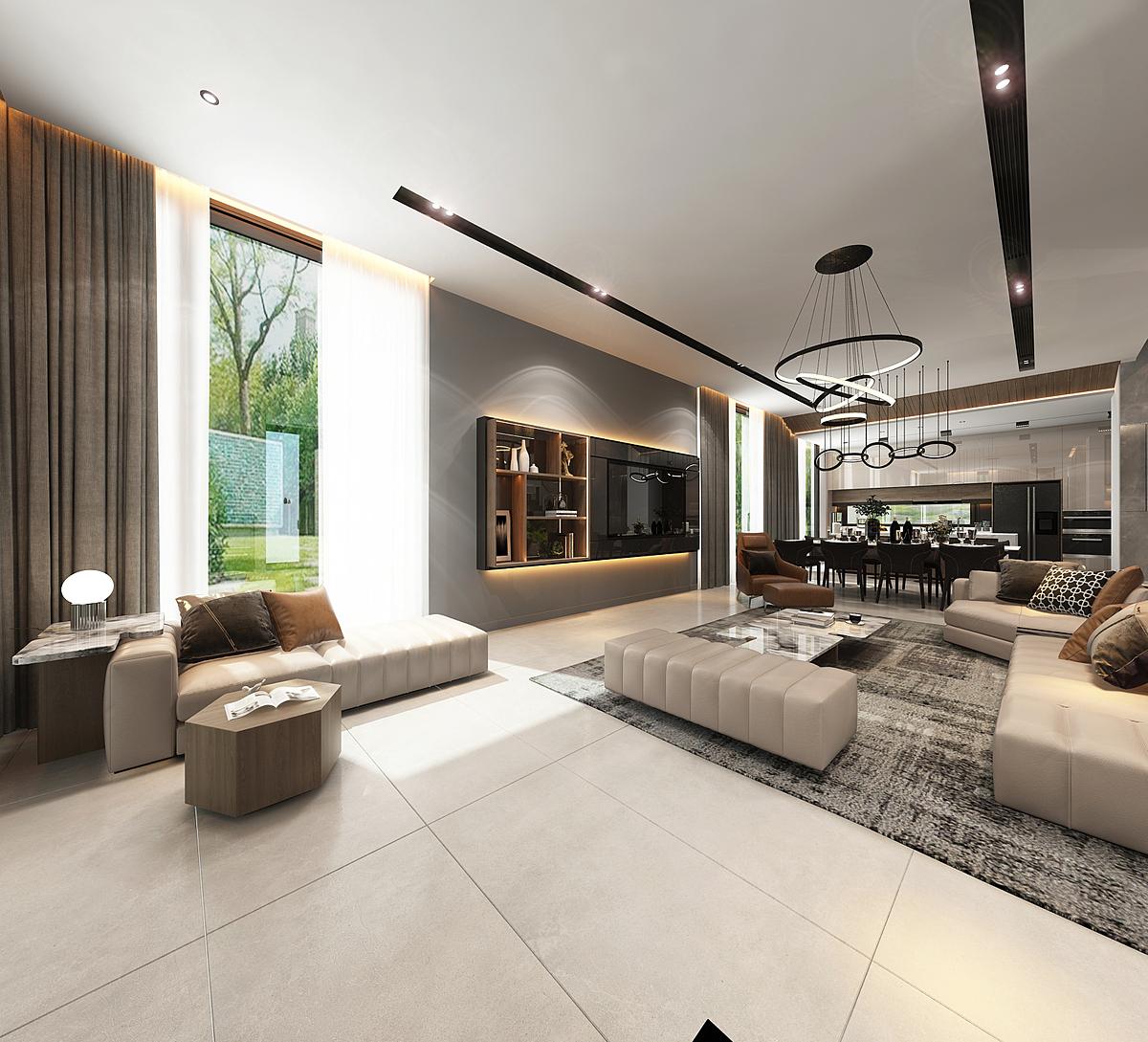 Việc bố trí công năng sử dụng của villa cũng thể hiện chất hiện đại, phóng khoáng của thời đại khi tạo ra không gian sống cởi mở. Toàn bộ khu vực sảnh vào kết nối phòng khách - bếp - phòng ăn thành một không gian hài hòa rộng mở cho cả gia đình.