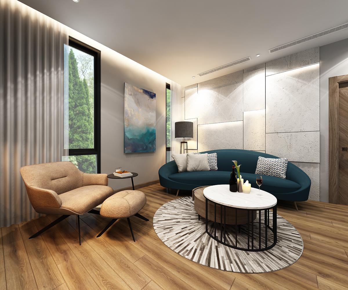 Phòng sinh hoạt chung là nơi cả nhà quây quần, gắn kết trong bối cảnh cuộc sống đô thị khiến thời gian người thân dành cho nhau ngày càng hạn hẹp.