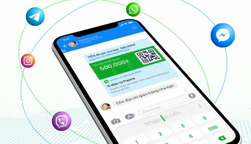 Một giao diện chuyển tiền trong khung chat. Ảnh: PayME.