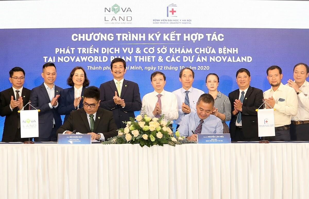 Novaland đã ký kết hợp tác với bệnh viện Đại học Y Hà Nội phát triển dịch vụ và cơ sở khám chữa bệnh tại NovaWorld Phan Thiet và các dự án Novaland. Ảnh: Novaland.