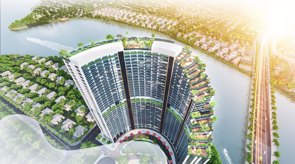 Babylon Tower sở hữu tầm nhìn hướng sông và mảng xanh lớn.