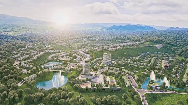 Ivory Villas & Resort được bao trọn bởi không gian xanh của Hòa Bình.