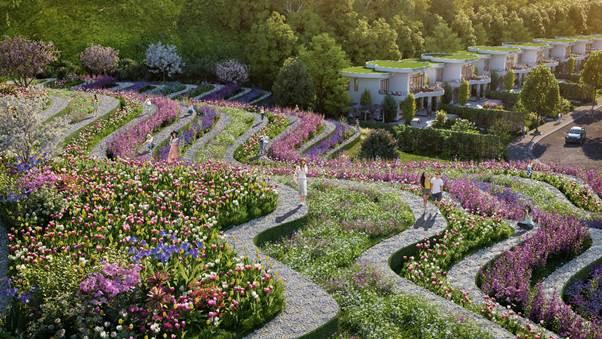 Vườn hoa xếp theo dạng bậc thang.