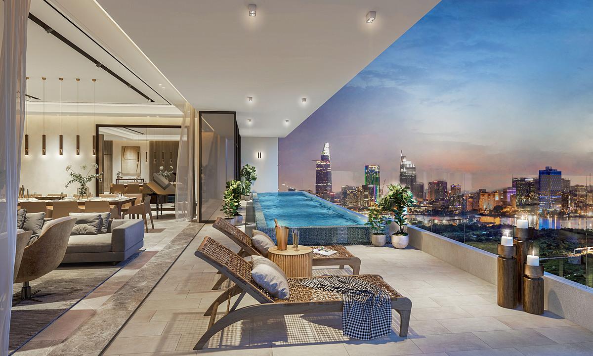 Mỗi căn Pool Villa đều có hồ bơi nằm ngay bên ngoài bức tường kính, tầm nhìn ra đường chân trời. Ảnh phối cảnh: City Garden.