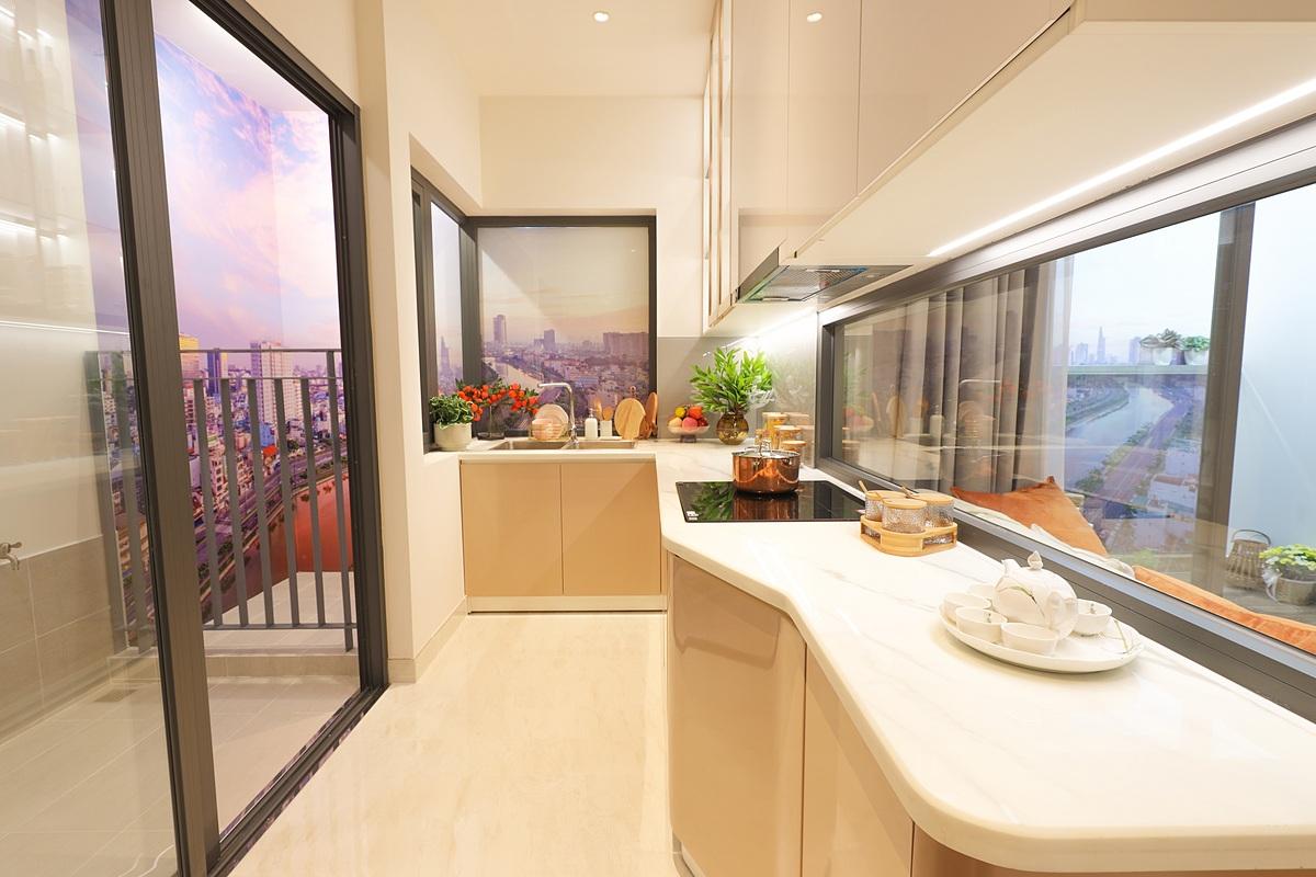Thiết kế bếp thiên nhiên độc đáo tại D-Aqua với tầm nhìn thông thoáng ra bên ngoài. Ảnh phối cảnh: DHA Corporation.